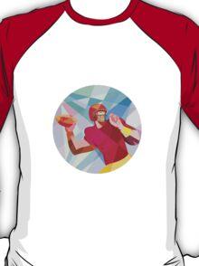 American Football Quarterback QB Low Polygon T-Shirt