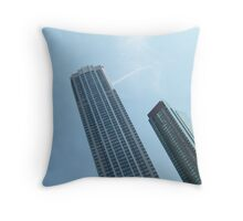 Tall buildings in the blue sky Throw Pillow