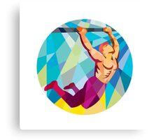 Crossfit Pull Up Bar Circle Low Polygon Canvas Print