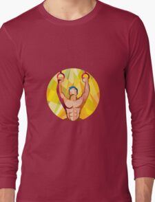 Cross-fit Training Weights Ring Circle Low Polygon Long Sleeve T-Shirt