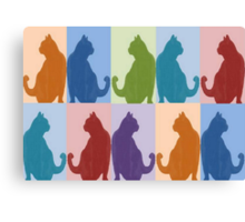 Silhouette Cat Collage Pattern New Media Art Canvas Print