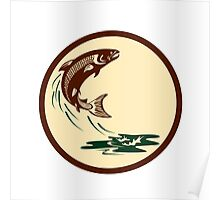 Atlantic Salmon Fish Jumping Water Retro Poster