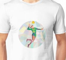 Volleyball Player Spiking Ball Jumping Low Polygon Unisex T-Shirt
