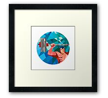 Weightlifter Snatch Grab Lifting Barbell Low Polygon Framed Print