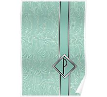 1920s Blue Deco Swing with Monogram letter P Poster