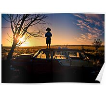 Sunset on Car junk yard Poster