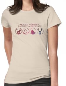 Moony, Wormtail, Padfoot, Prongs Womens Fitted T-Shirt