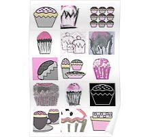 mixed media cupcakes  Poster