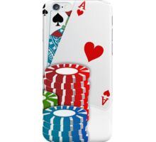 Jack and Ace, Texas Hold'em Poker, Coin Stacks iPhone Case/Skin