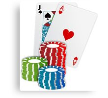 Jack and Ace, Texas Hold'em Poker, Coin Stacks Canvas Print