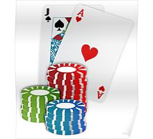 Jack and Ace, Texas Hold'em Poker, Coin Stacks Poster