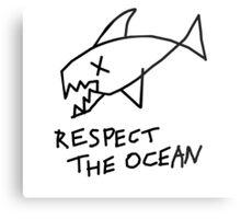 Respect the Ocean - Cool Grunge Mashup - White Version Metal Print