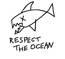 Respect the Ocean - Cool Grunge Mashup - White Version Photographic Print