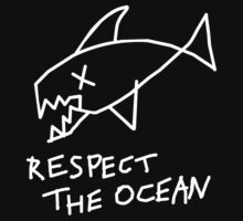 Respect the Ocean - Cool Grunge Mashup - Black Version Kids Clothes