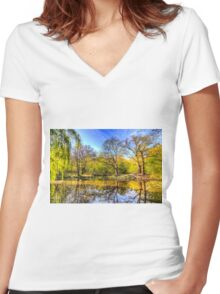 The Reflection Pond Women's Fitted V-Neck T-Shirt