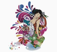 Anime Japanese Geisha Girl oriental floral art  Kids Clothes
