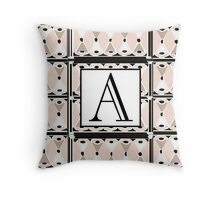 1920s Pink Champagne Gatsby Monogram letter A Throw Pillow