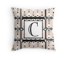1920s Pink Champagne Gatsby Monogram letter C Throw Pillow