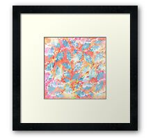 Whimsical Watercolor Leaves in Blue and Orange Framed Print