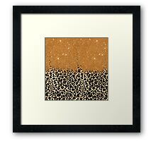 Leopard Print with Gold Faux Glitter Brush Stroke Framed Print