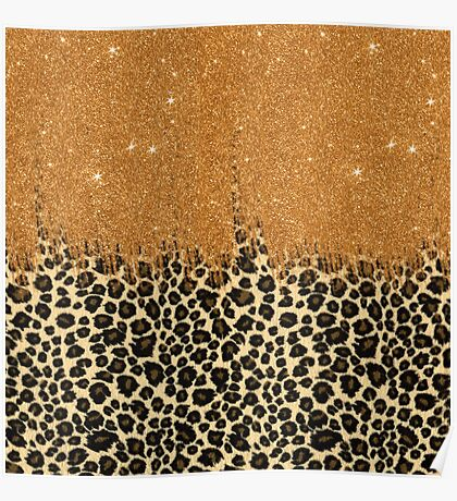 Leopard Print with Gold Faux Glitter Brush Stroke Poster