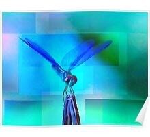 Blue Dragonfly in boxed in shades Poster