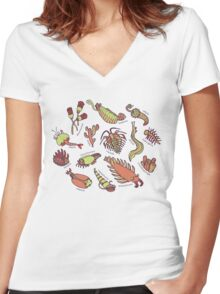 Cambrian Critters Women's Fitted V-Neck T-Shirt