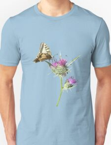 Scarce Swallowtail Butterfly and Thistle Background Removed T-Shirt