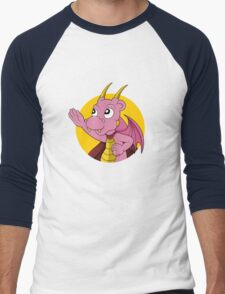 Cute pink dragon superhero cartoon Men's Baseball ¾ T-Shirt