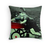 a boy and his wagon Throw Pillow