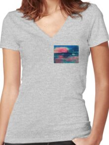 Bubble moon on Mars  Women's Fitted V-Neck T-Shirt