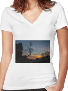 Tree at Brimham Rocks, Yorkshire, England Women's Fitted V-Neck T-Shirt