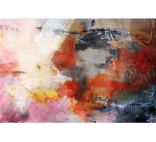 Red Orange Abstract Original Painting on Print  Photographic Print