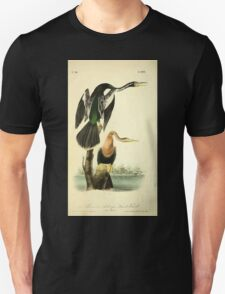 James Audubon Vector Rebuild - The Birds of America - From Drawings Made in the United States and Their Territories V 1-7 1840 - American Anhinga Snake Bird T-Shirt
