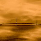 Mackinac Bridge Pillow by Marie Sharp