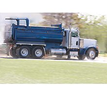 Trucks- Empty Dump Truck Speeding Away From a Construction Site Photographic Print