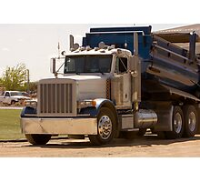 Trucks - Dump Truck Emptying Its Cargo on a Construction Site Photographic Print
