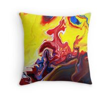 Red and Yellow Abstract Painting Throw Pillow