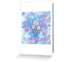 Whimsical Watercolor Leaves and Flowers  Greeting Card