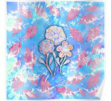 Whimsical Watercolor Leaves and Flowers  Poster