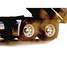 Trucks - Rear Wheels & Axels of a Dump Truck on White Background Photographic Print