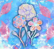 Whimsical Watercolor Leaves and Flowers  by Blkstrawberry