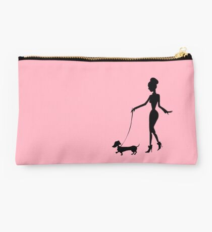 Flaunting The Pooch (blush) - Dachshund Sausage Dog Studio Pouch
