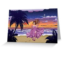 Fashion Girl on the Beach Greeting Card
