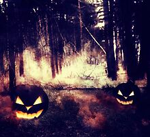 Pumpkins in the Night Forest by AnnArtshock