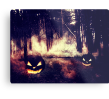 Pumpkins in the Night Forest Metal Print