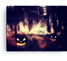 Pumpkins in the Night Forest Canvas Print