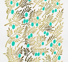 Gold & Turquoise Olive Branches by Cat Coquillette