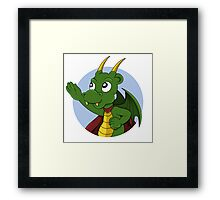 Cute green dragon superhero cartoon Framed Print