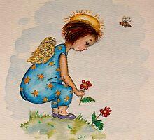 Angel picking Flower by Lorna Gerard
